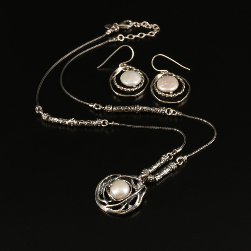 Israeli Sterling Pearl Necklace and Earrings