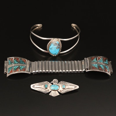Southwestern Turquoise and Coral Cuff, Pin and Watch Band