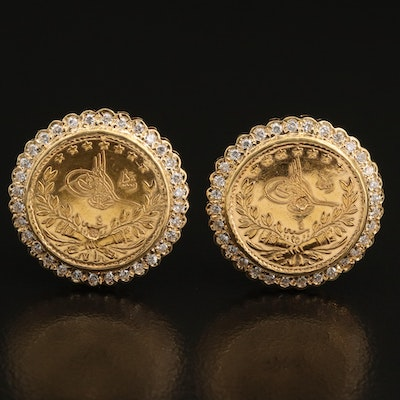 Turkish Coin Earrings Set in 18K with Diamond Edges
