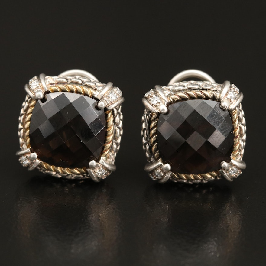 Andrea Candela Sterling Smoky Quartz and Diamond Earrings with 18K Accents