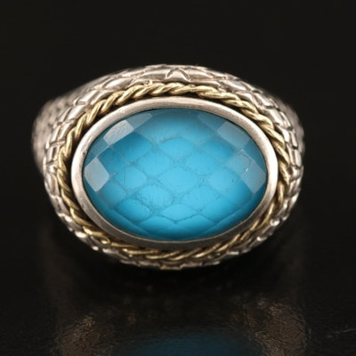 Andrea Candela Sterling Quartz East-West Ring with 18K Accents