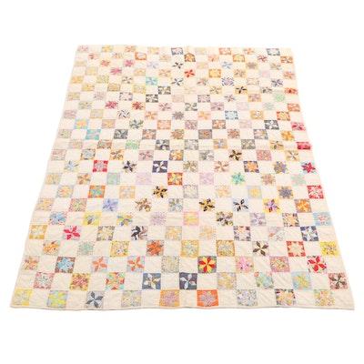 "Handmade ""LeMoyne Star"" Pieced Quilt"