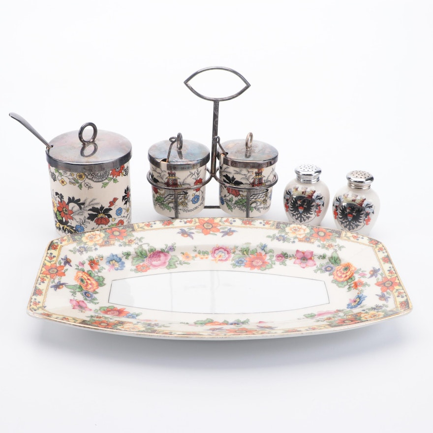 Ceramic and Silver Plate Condiment Containers and Other Tableware