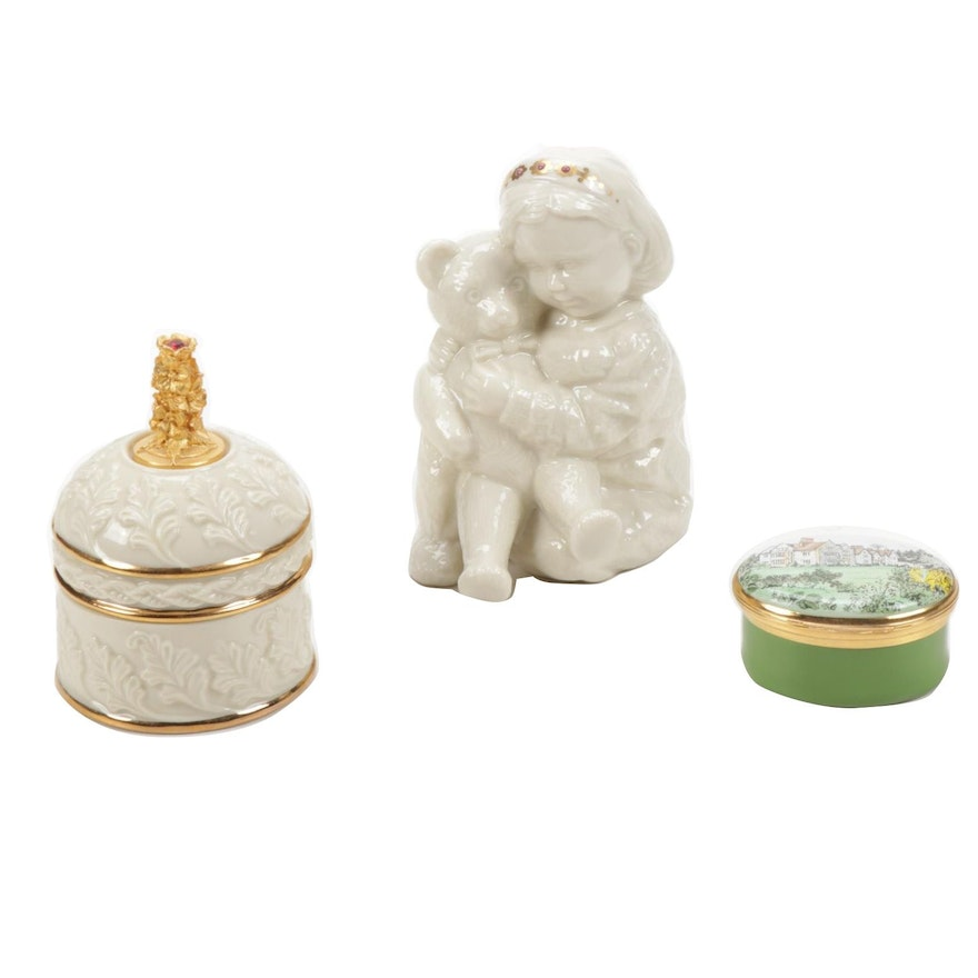 Lenox and Crummels Porcelain Trinket Boxes and Figurine