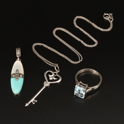 Sterling Jewelry  Including Key Pendant, Topaz, Diamond and Faux Turquoise