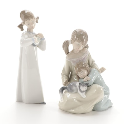 """Lladró """"Little Sister"""" and """"Girl with Guitar"""" Porcelain Figurines"""