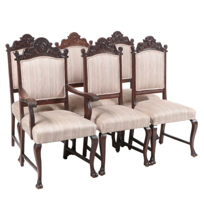 Six Late Victorian Carved Oak Dining Chairs, circa 1900