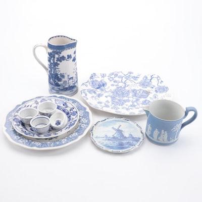 Wedgwood Jasperware Jug and Other Blue and White Tableware