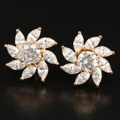 14K Cubic Zirconia Stud Earrings with Jackets