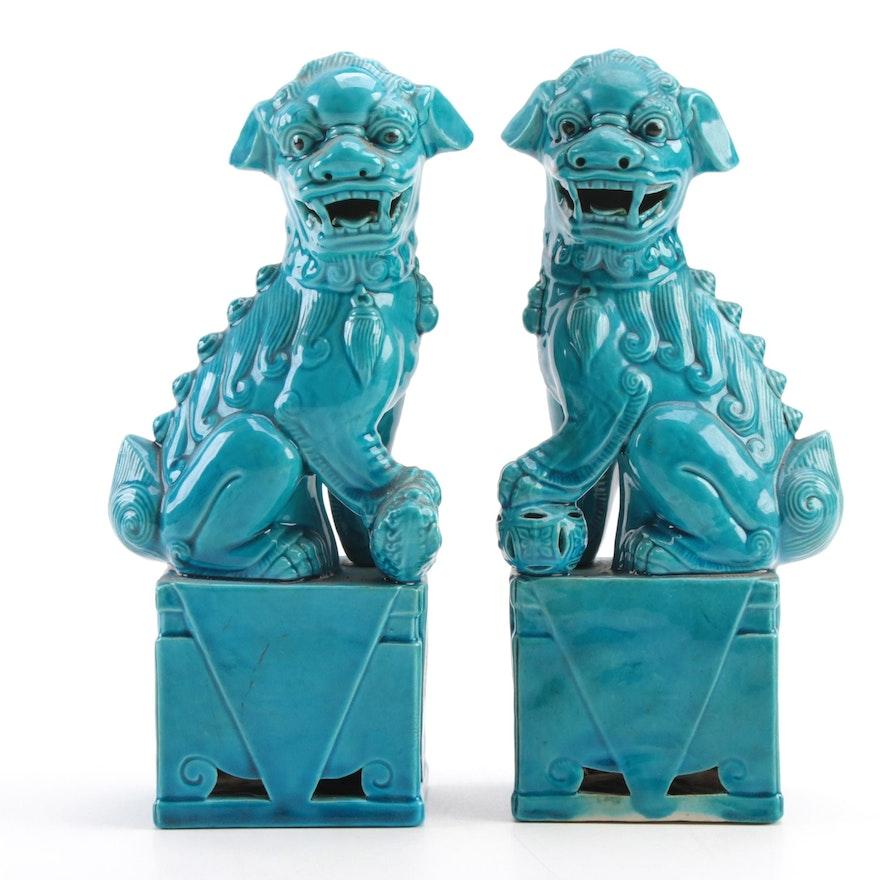 Chinese Turquoise Ceramic Guardian Lion Figurines Pair