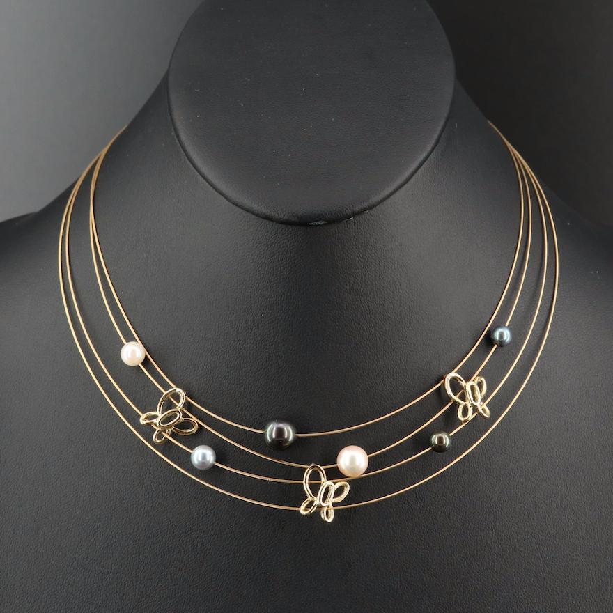 18K Pearl Multi-Strand Butterfly Necklace