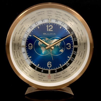 Bulova Brass World Time Desk Clock, Mid-20th Century