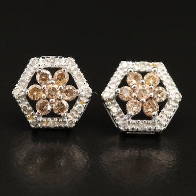 14K Diamond Openwork Stud Earrings