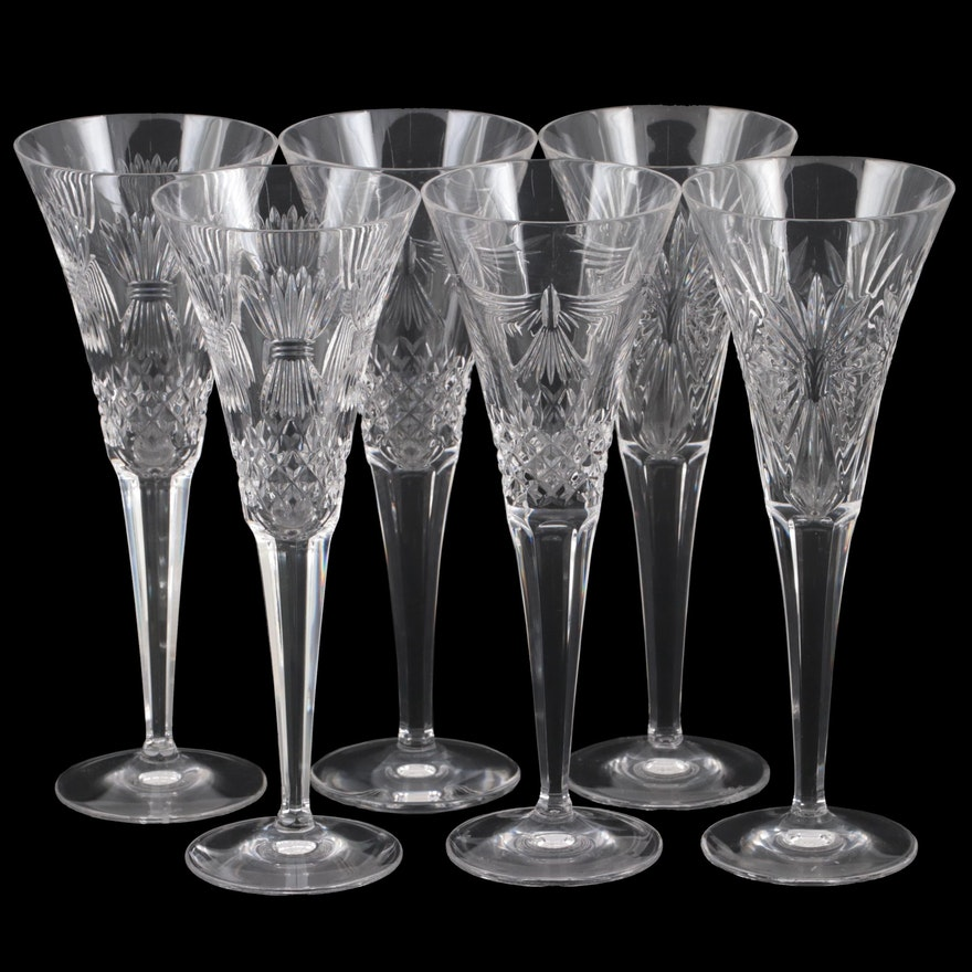 """Waterford """"Millennium Series"""" Crystal Champagne Flutes, 1996–2005"""