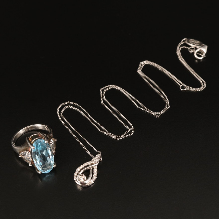 Sterling Ring and Necklace Including Topaz, Diamond and Sapphire