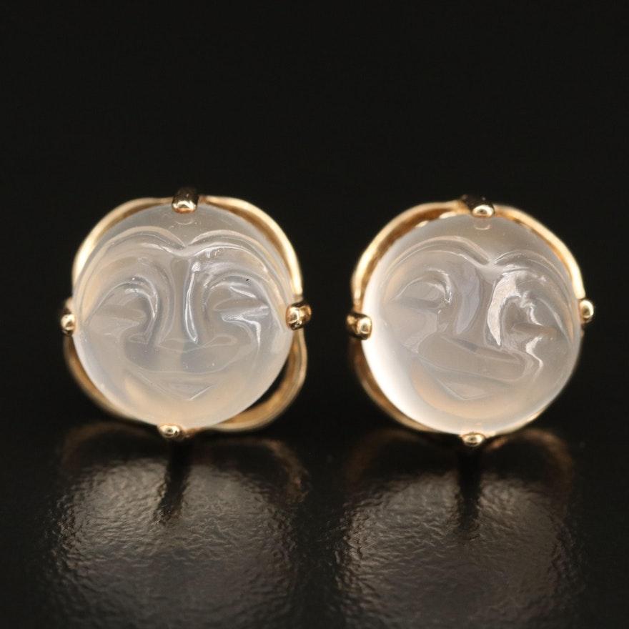 """10K Carved """"Man in the Moon"""" Moonstone Stud Earrings"""