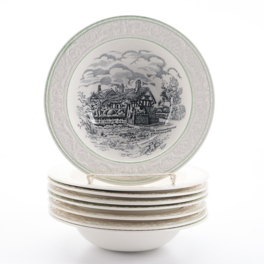 "S. Fieldings & Co. ""British Scenes"" Devon Ware Ironstone Bowls, Early 20th C."
