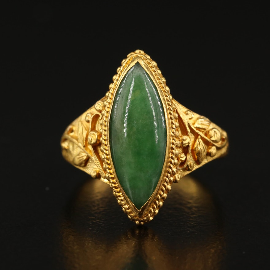 22K Jadeite Navette Ring