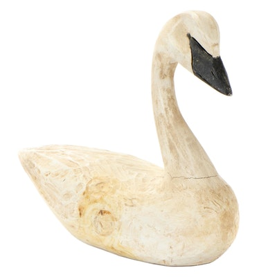 Hand-Painted Carved Wood Trumpeter Swan Figurine