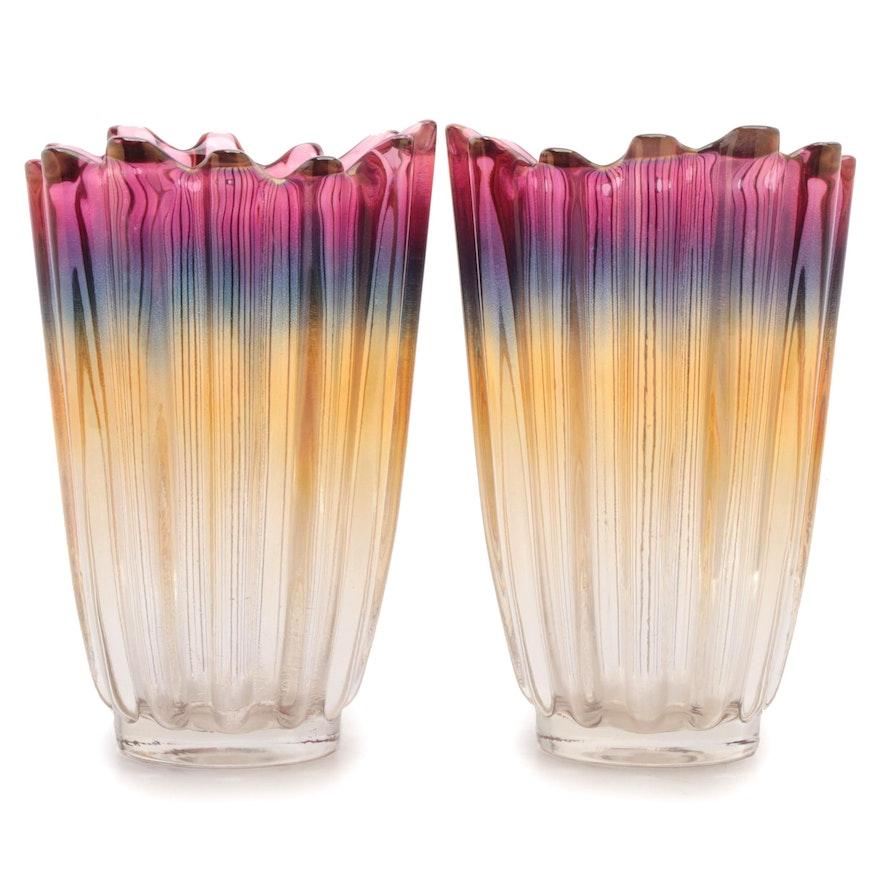 Pair of Metallic Iridescent Art Glass Vases