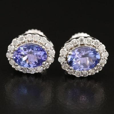 14K Tanzanite and Diamond Halo Stud Earrings