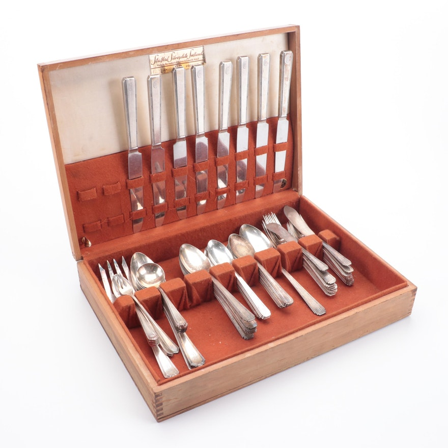 American Silver Plate Flatware in Chest,  Mid-20th Century