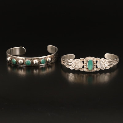 Southwestern Sterling Turquoise Stampwork Cuffs