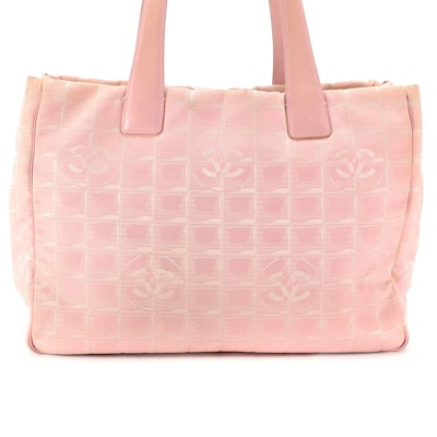 Chanel Travel Line Tote in Pink CC Nylon Jacquard and Smooth Leather Trim