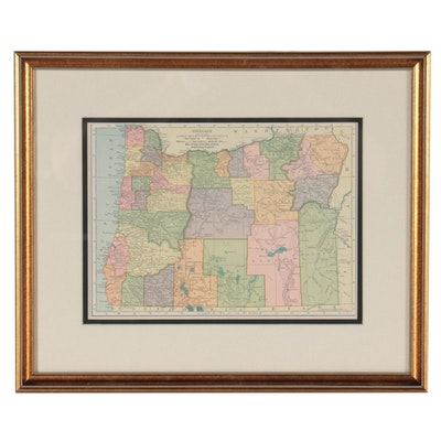 "C.S. Hammond & Co. Wax Engraving Map ""Oregon,"" 1905"