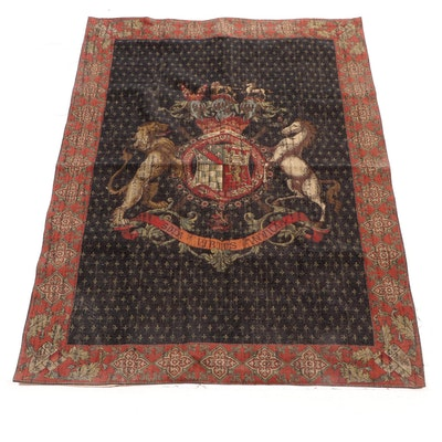 Machine Woven French Style Armorial Coat of Arms Tapestry
