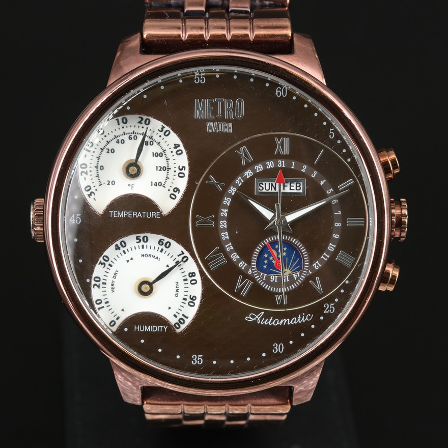 Metro Multifunction Bronze Tone Automatic Wristwatch