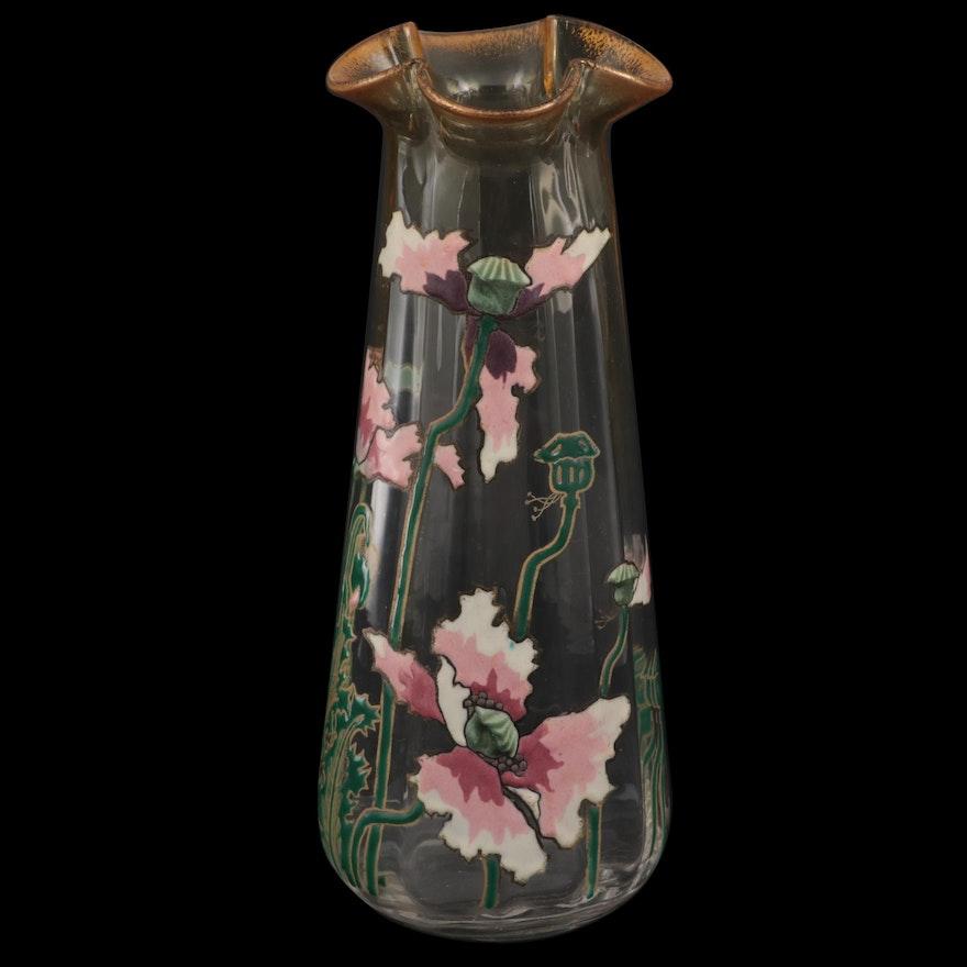 Art Nouveau French Enameled Anemone Glass Vase, Early 20th Century