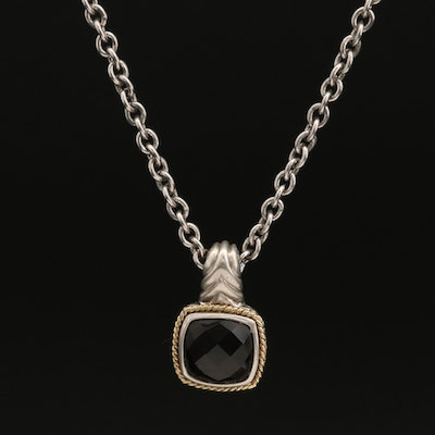 Andrea Candela Sterling Silver Smoky Quartz Pendant Necklace with 18K Accent