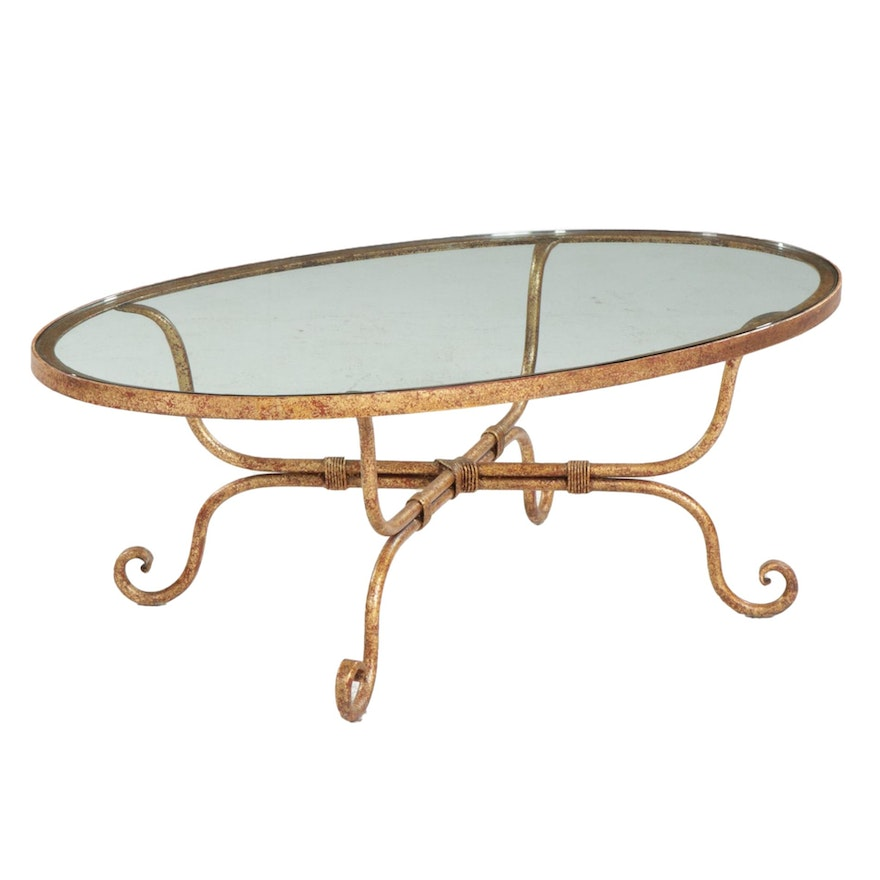 """Decorative Crafts """"Lessolo"""" Painted Wrought-Iron and Glass Top Oval Coffee Table"""