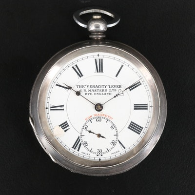 "925 Silver Swiss ""Veracity"" Lever J.N. Masters Ltd. Pocket Watch"