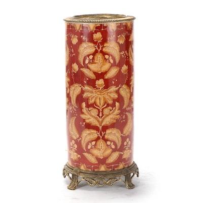 "Sarreid, Ltd. ""Luxembourg"" Brass-Mounted Ceramic Vase Umbrella Stand"