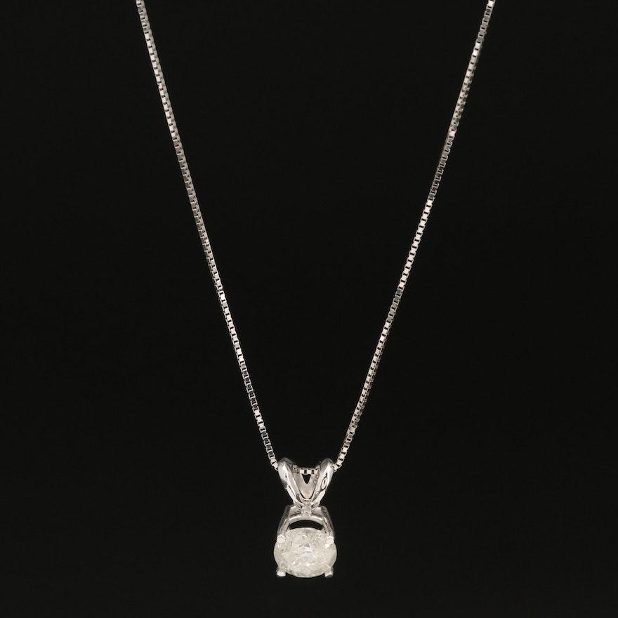 14K 0.66 CT Diamond Solitaire Pendant