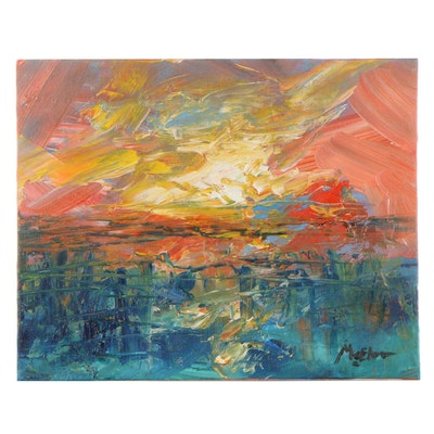 "Claire McElveen Oil Painting ""Ocean Sunrise,"" 2021"