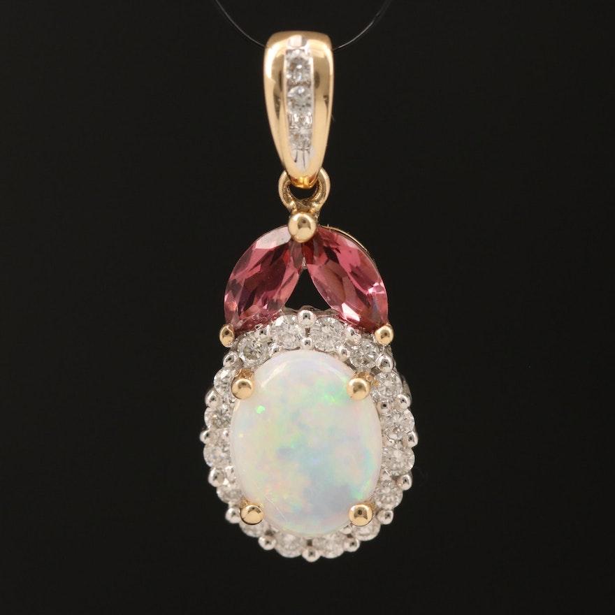 14K Opal, Diamond and Tourmaline Pendant