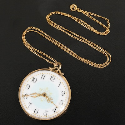 18 Karat Case Back with Dial and Hands Pendant Watch