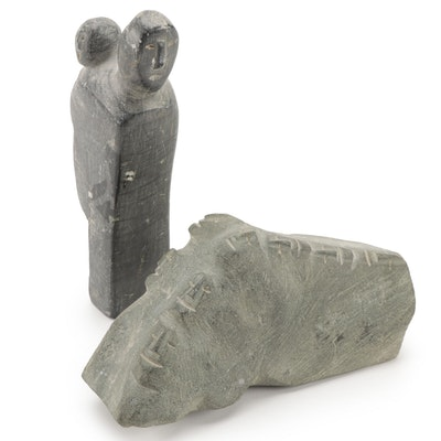 Inuit Carved Soapstone Mother and Child and Other Carved Figurine
