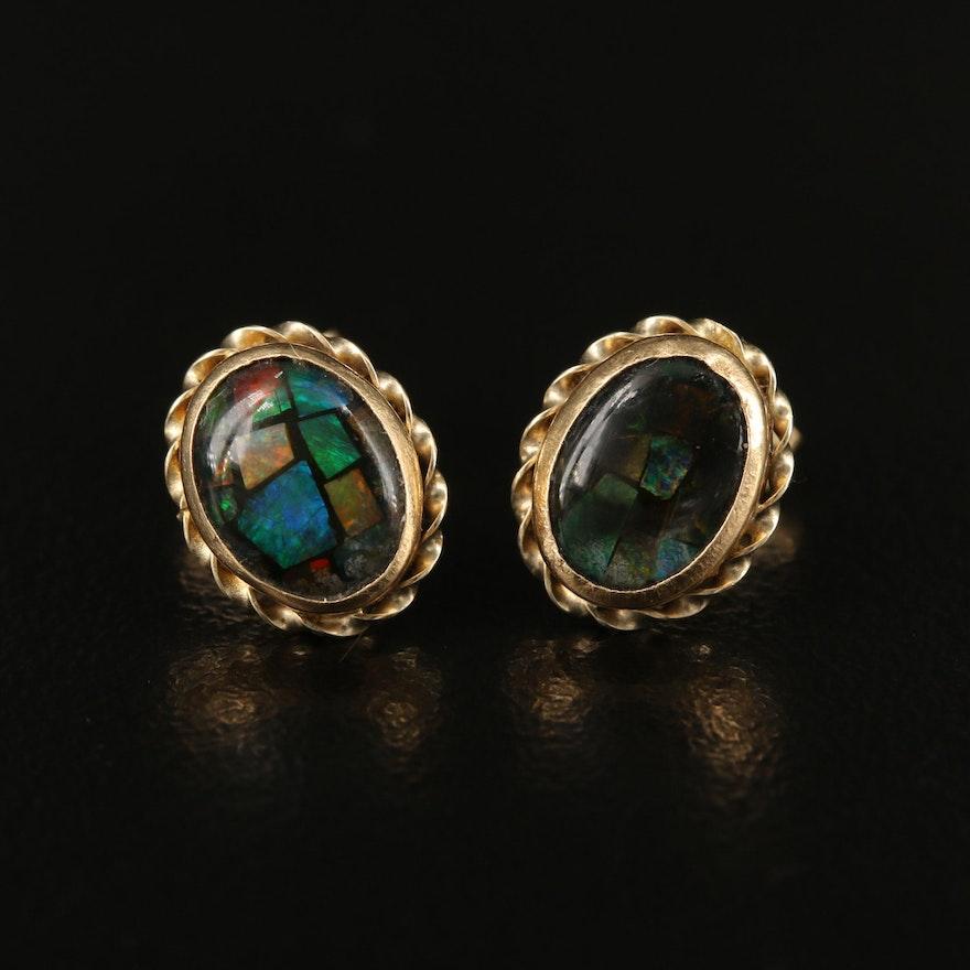 14K Opal and Quartz Doublet Earrings