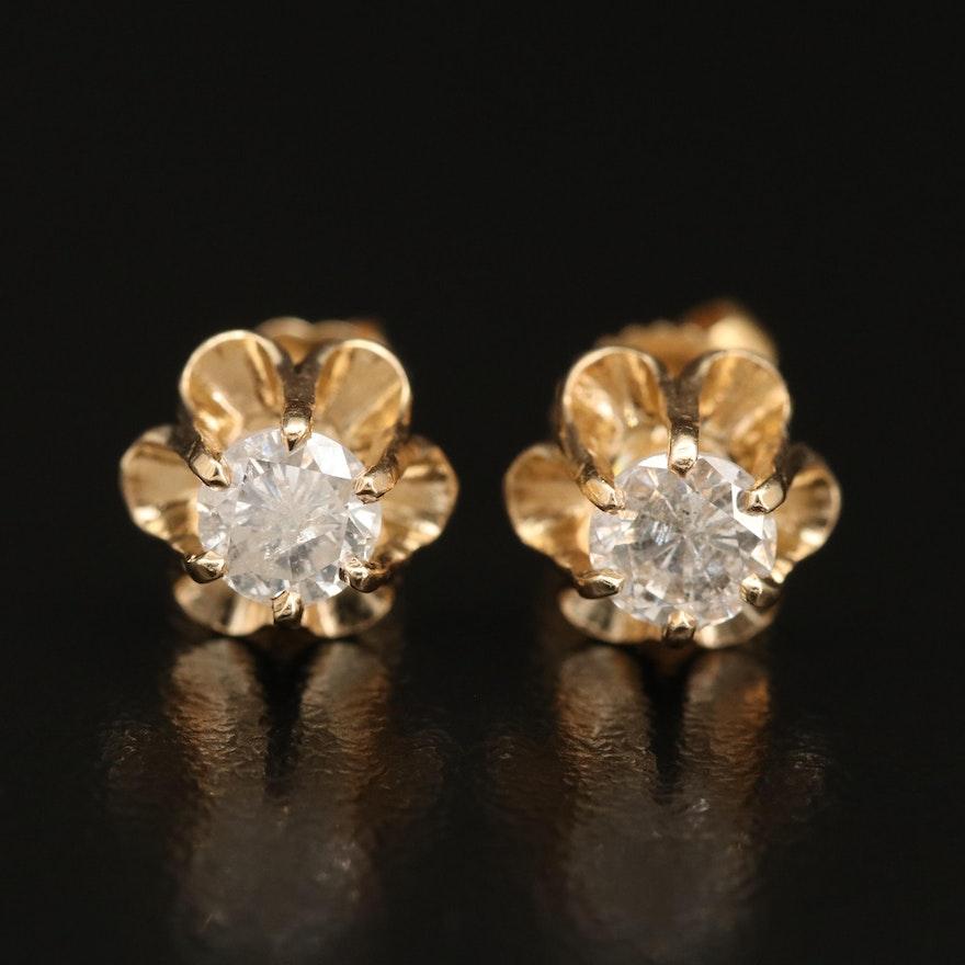 Vintage 14K Buttercup Set 0.81 CTW Diamond Stud Earrings