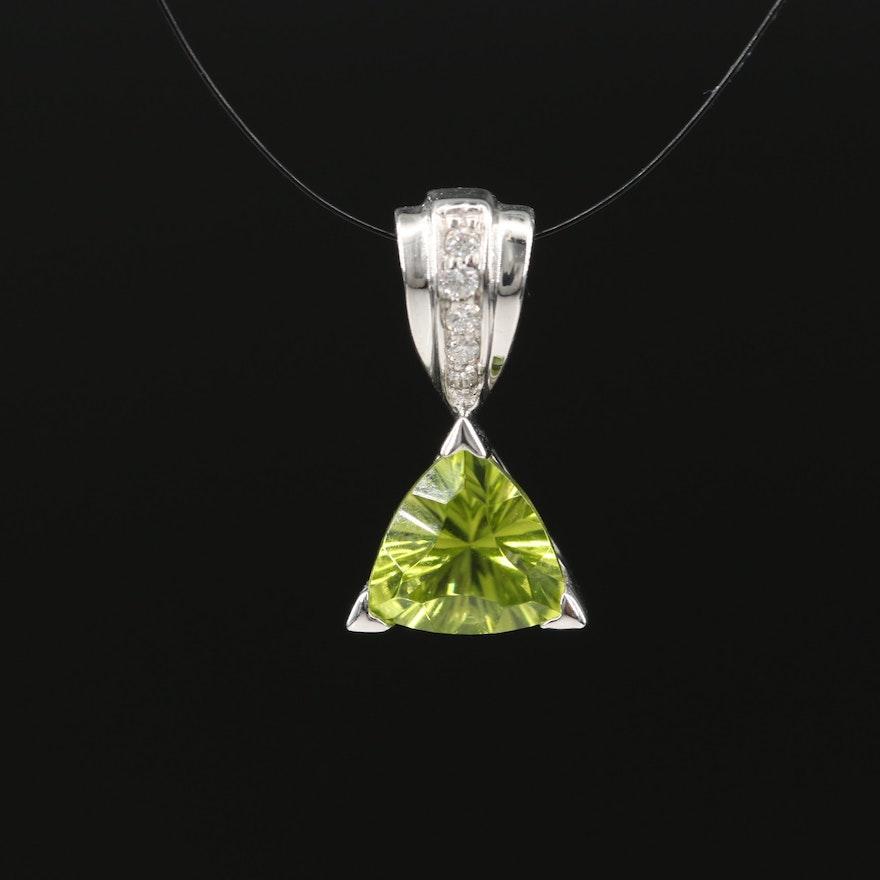 14K Peridot and Diamond Pendant
