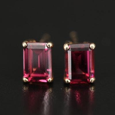 14K Rhodalite Garnet Stud Earrings