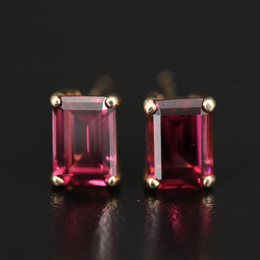 14K Rhodolite Garnet Stud Earrings