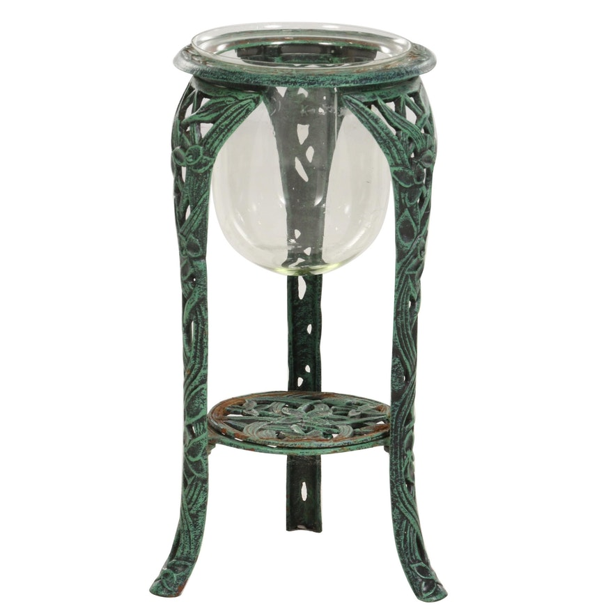 Verdigris Patinated Cast Iron Floor Standing Candle Holder, Late 20th Century