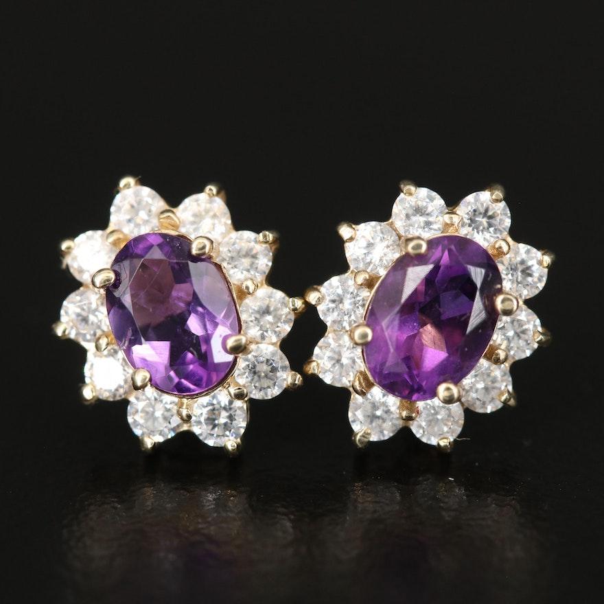 10K Amethyst and Cubic Zirconia Earrings
