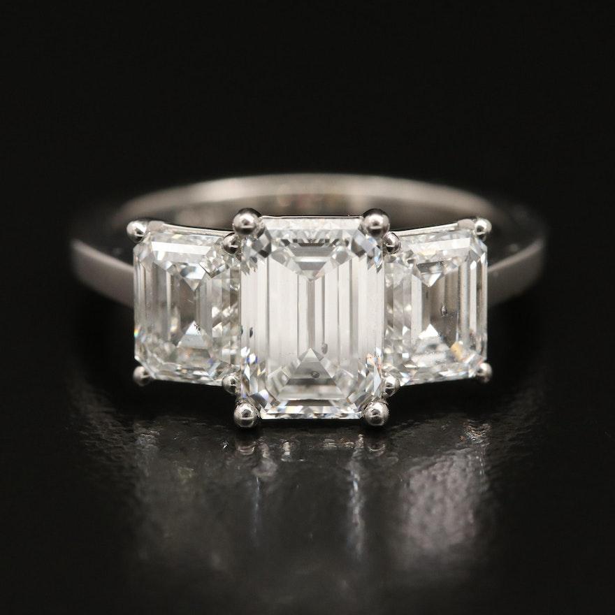 Platinum 3.34 CTW Diamond Ring with GIA Reports
