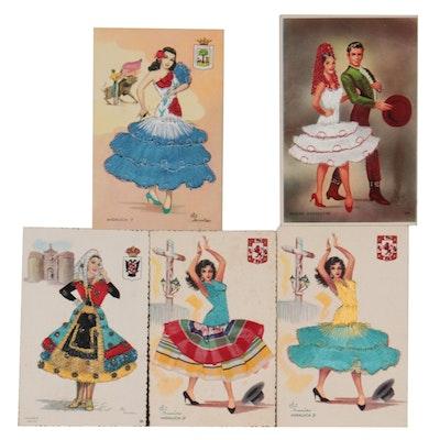 Vintage Spanish Embroidered Postcards After Elsi Gumier